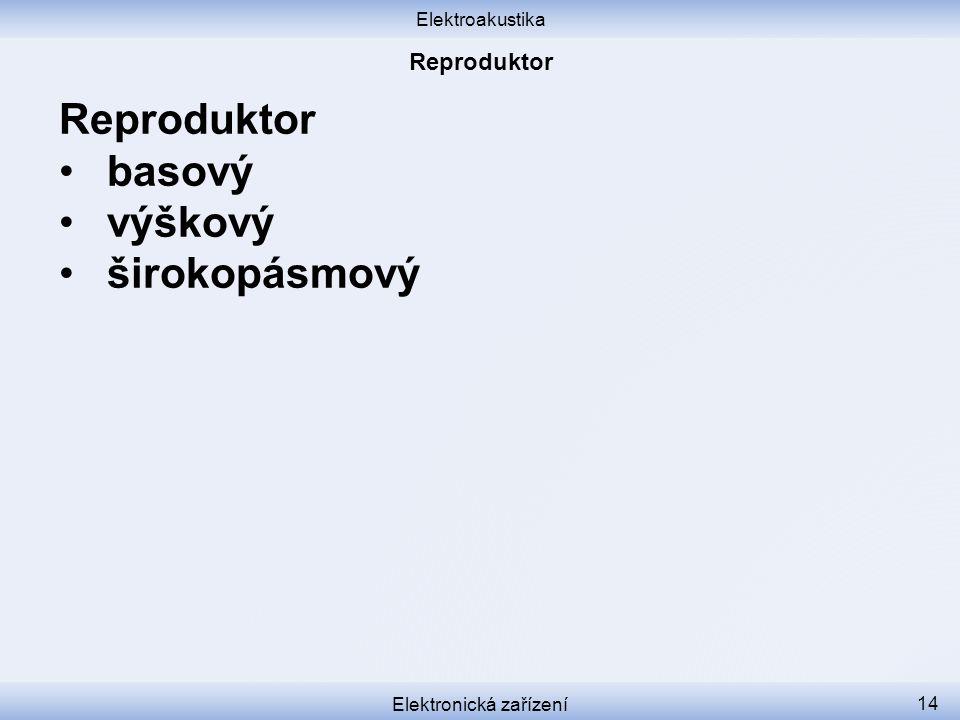 Elektroakustika Elektronická zařízení 14 Reproduktor basový výškový širokopásmový