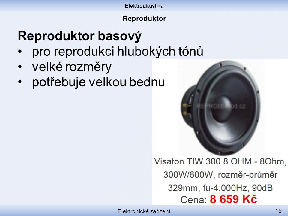 Elektroakustika Elektronická zařízení 15 Reproduktor basový pro reprodukci hlubokých tónů velké rozměry potřebuje velkou bednu