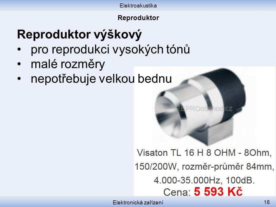 Elektroakustika Elektronická zařízení 16 Reproduktor výškový pro reprodukci vysokých tónů malé rozměry nepotřebuje velkou bednu