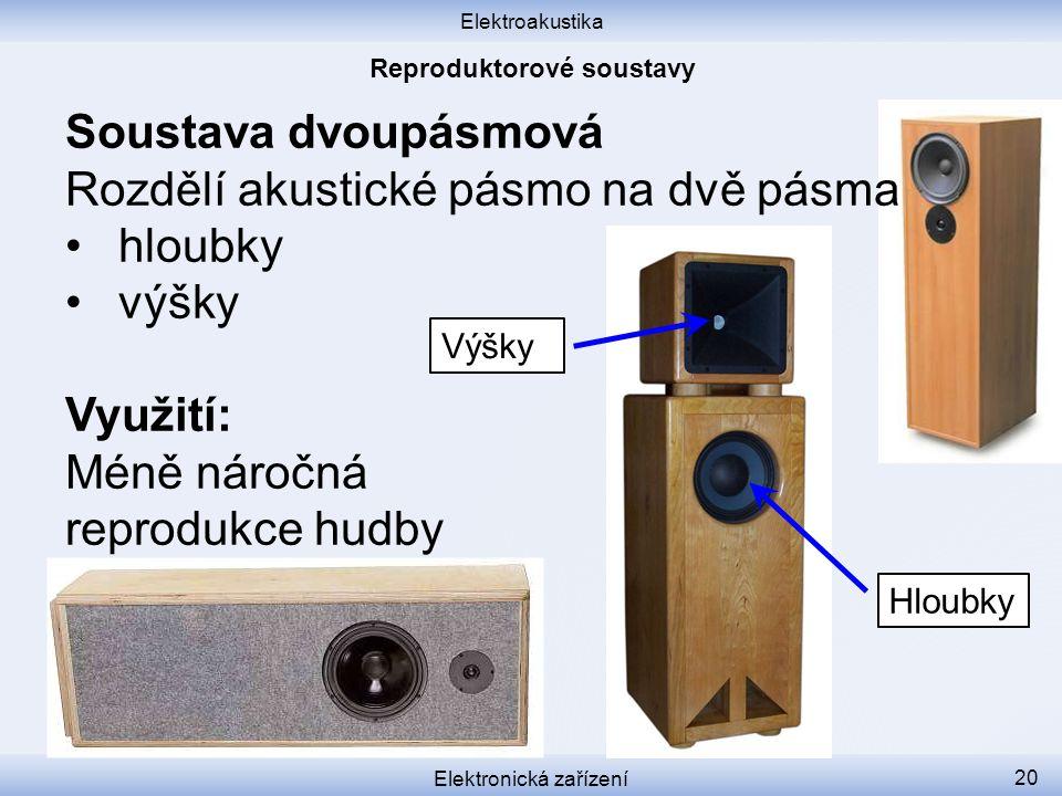 Elektroakustika Elektronická zařízení 20 Soustava dvoupásmová Rozdělí akustické pásmo na dvě pásma hloubky výšky Využití: Méně náročná reprodukce hudb
