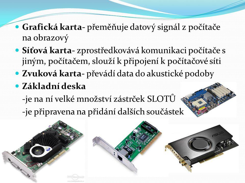 Grafická karta- přeměňuje datový signál z počítače na obrazový Síťová karta- zprostředkovává komunikaci počítače s jiným, počítačem, slouží k připojení k počítačové síti Zvuková karta- převádí data do akustické podoby Základní deska -je na ní velké množství zástrček SLOTŮ -je připravena na přidání dalších součástek