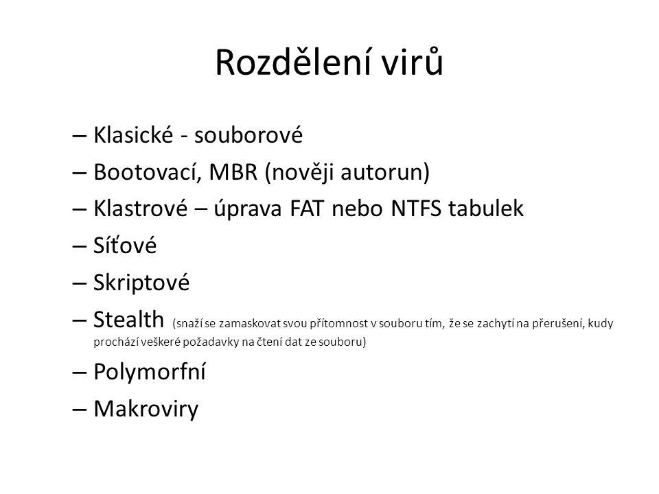 Členění dle Kaspersky Lab Souborové červy – vytvářejí pro své šíření soubory především v systémových adresářích, tyto soubory se svými názvy často vydávají za systémové soubory IRC červy – využívají vlastností IRC posílat data ve spustitelné formě; velmi častý způsob šíření červů Skriptové červy