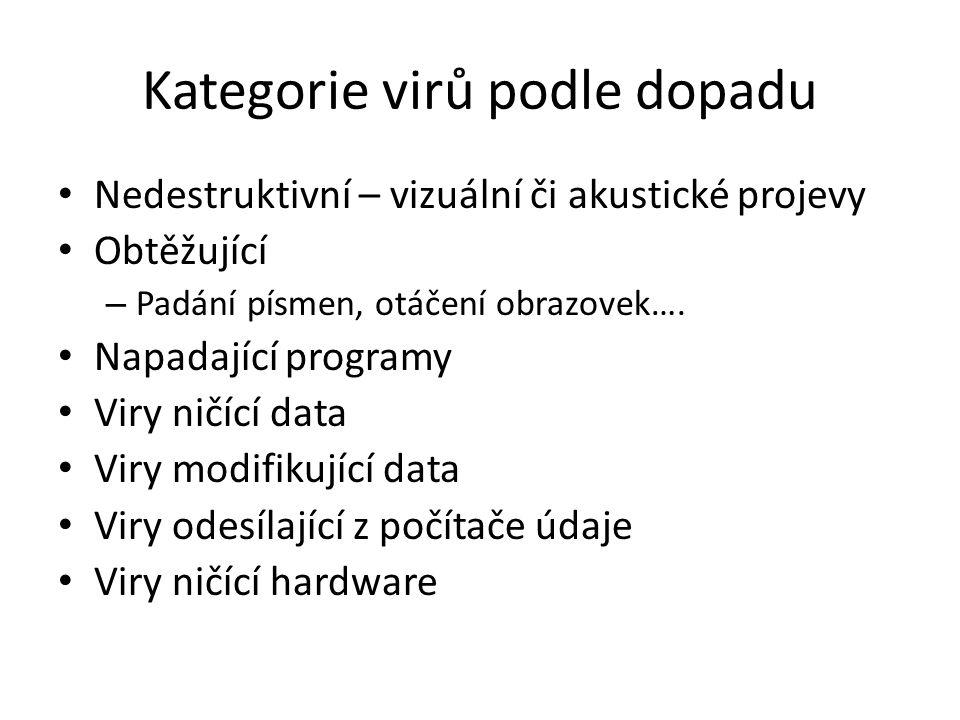 Součásti antiviru Rezidentní hlídače Skenovací Hlídače kontrolních součtů Odstraňovací (ne všechny viry lze odstranit)