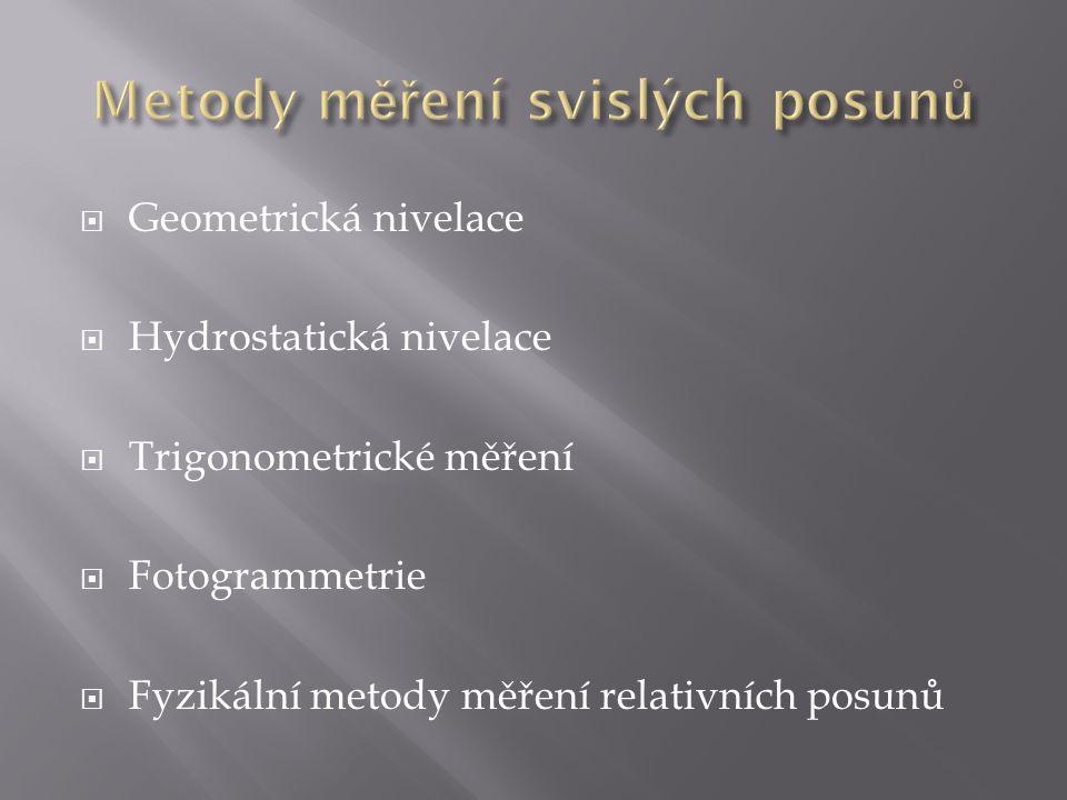  Geometrická nivelace  Hydrostatická nivelace  Trigonometrické měření  Fotogrammetrie  Fyzikální metody měření relativních posunů