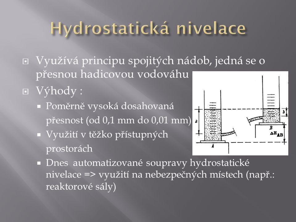 Využívá principu spojitých nádob, jedná se o přesnou hadicovou vodováhu  Výhody :  Poměrně vysoká dosahovaná přesnost (od 0,1 mm do 0,01 mm)  Využití v těžko přístupných prostorách  Dnes automatizované soupravy hydrostatické nivelace => využití na nebezpečných místech (např.: reaktorové sály)