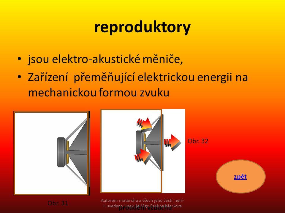reproduktory jsou elektro-akustické měniče, Zařízení přeměňující elektrickou energii na mechanickou formou zvuku zpět proudění vzduchu Obr. 31 Obr. 32