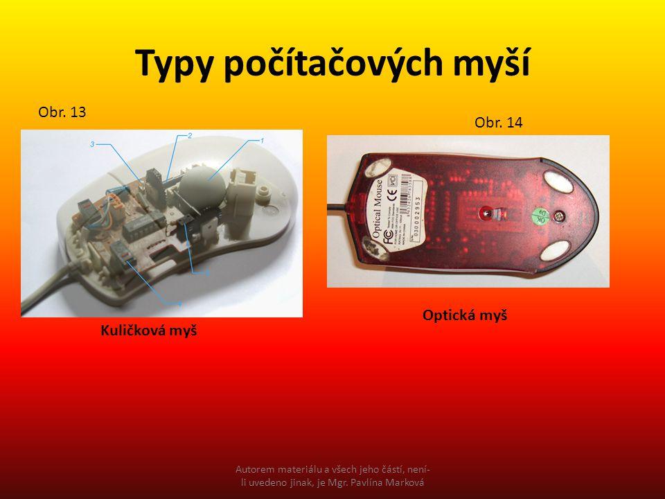 Typy počítačových myší Kuličková myš Optická myš Obr. 13 Obr. 14 Autorem materiálu a všech jeho částí, není- li uvedeno jinak, je Mgr. Pavlína Marková