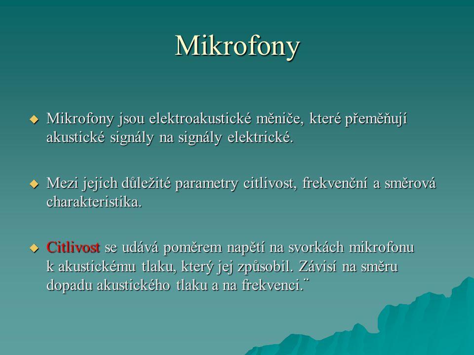 Mikrofony  Mikrofony jsou elektroakustické měniče, které přeměňují akustické signály na signály elektrické.