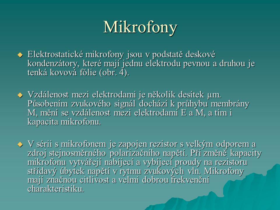 Mikrofony  Elektrostatické mikrofony jsou v podstatě deskové kondenzátory, které mají jednu elektrodu pevnou a druhou je tenká kovová fólie (obr.