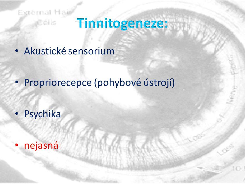 Akustické sensorium Propriorecepce (pohybové ústrojí) Psychika nejasná
