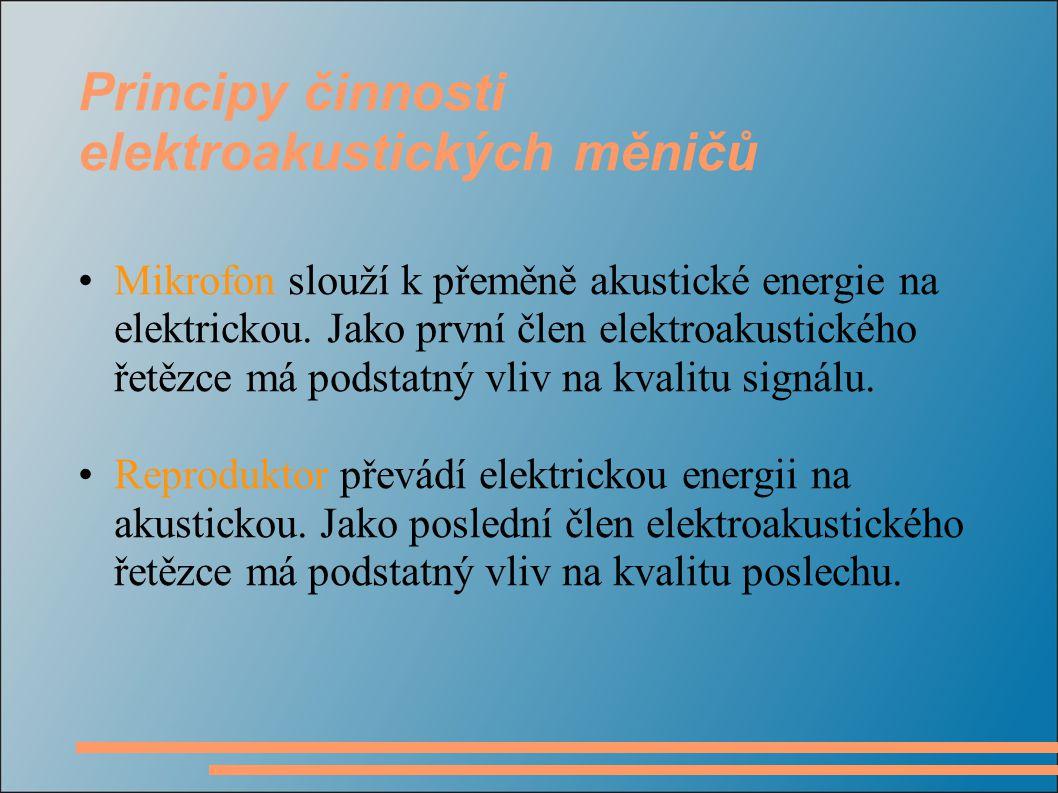 Principy činnosti elektroakustických měničů Mikrofon slouží k přeměně akustické energie na elektrickou.