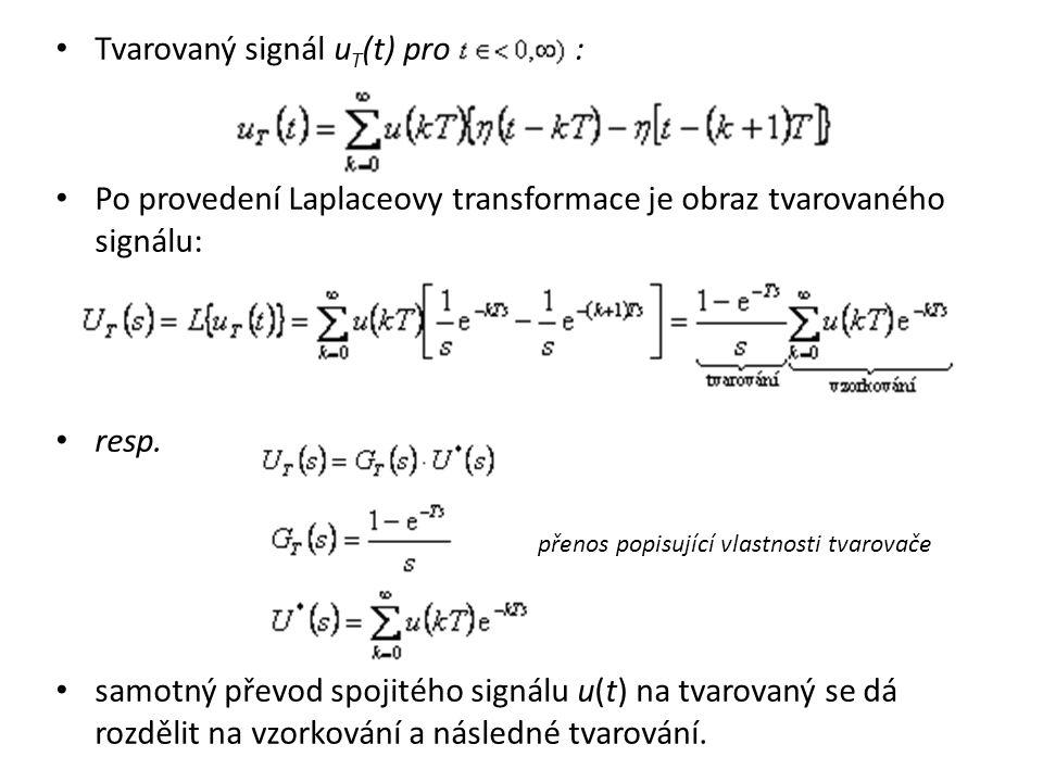 Tvarovaný signál u T (t) pro : Po provedení Laplaceovy transformace je obraz tvarovaného signálu: resp. přenos popisující vlastnosti tvarovače samotný