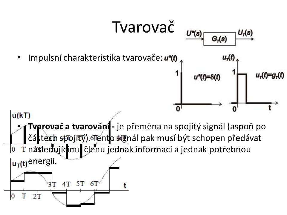 Tvarovač Impulsní charakteristika tvarovače: Tvarovač a tvarování - je přeměna na spojitý signál (aspoň po částech spojitý). Tento signál pak musí být