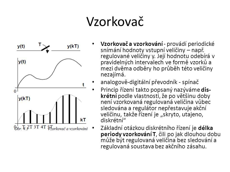 Vzorkovač Vzorkovač a vzorkování - provádí periodické snímání hodnoty vstupní veličiny – např. regulované veličiny y. Její hodnotu odebírá v pravideln