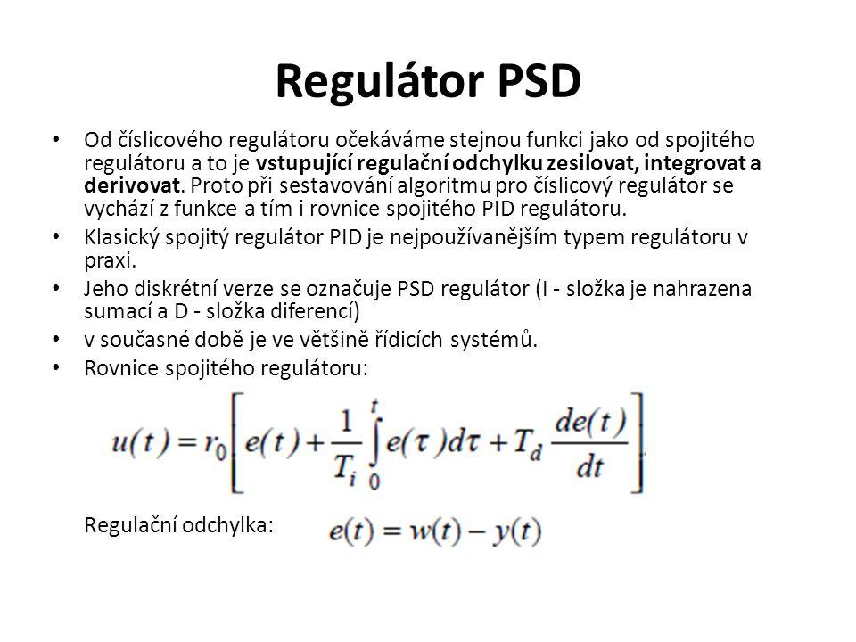 Regulátor PSD Od číslicového regulátoru očekáváme stejnou funkci jako od spojitého regulátoru a to je vstupující regulační odchylku zesilovat, integro