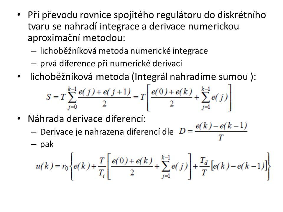 Při převodu rovnice spojitého regulátoru do diskrétního tvaru se nahradí integrace a derivace numerickou aproximační metodou: – lichoběžníková metoda