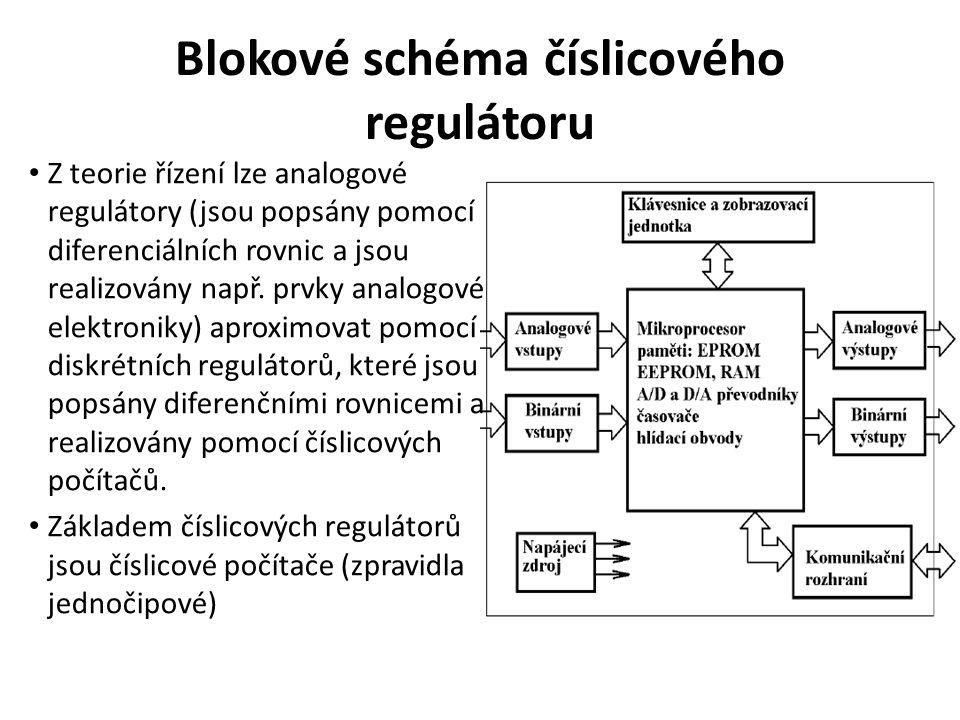 Blokové schéma číslicového regulátoru Z teorie řízení lze analogové regulátory (jsou popsány pomocí diferenciálních rovnic a jsou realizovány např. pr