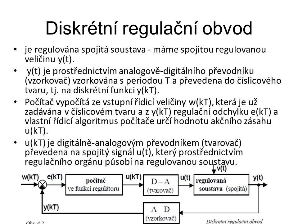 Diskrétní regulační obvod je regulována spojitá soustava - máme spojitou regulovanou veličinu y(t). y(t) je prostřednictvím analogově-digitálního přev