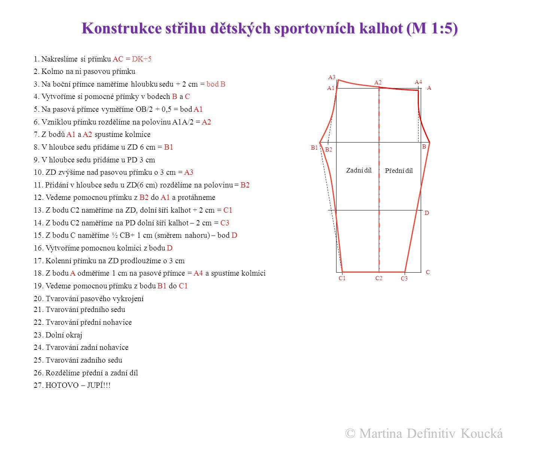 Konstrukce dětských sportovních kalhot.