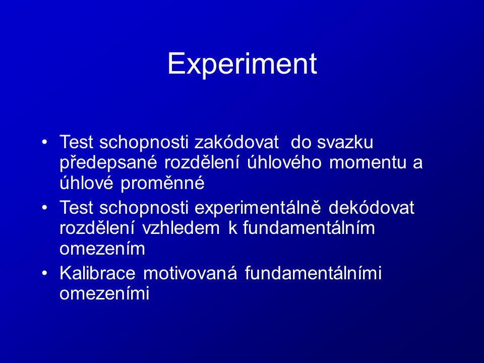 Experiment Test schopnosti zakódovat do svazku předepsané rozdělení úhlového momentu a úhlové proměnné Test schopnosti experimentálně dekódovat rozděl