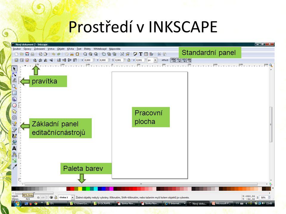 Prostředí v INKSCAPE Základní panel editačnícnástrojů pravítka Pracovní plocha Paleta barev Standardní panel