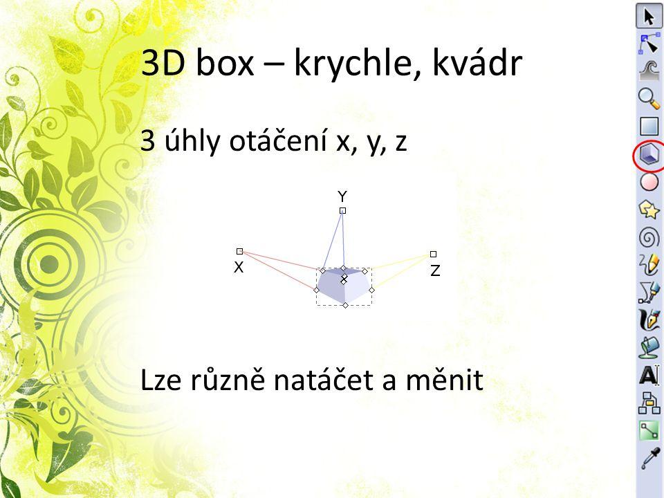 3D box – krychle, kvádr 3 úhly otáčení x, y, z Lze různě natáčet a měnit