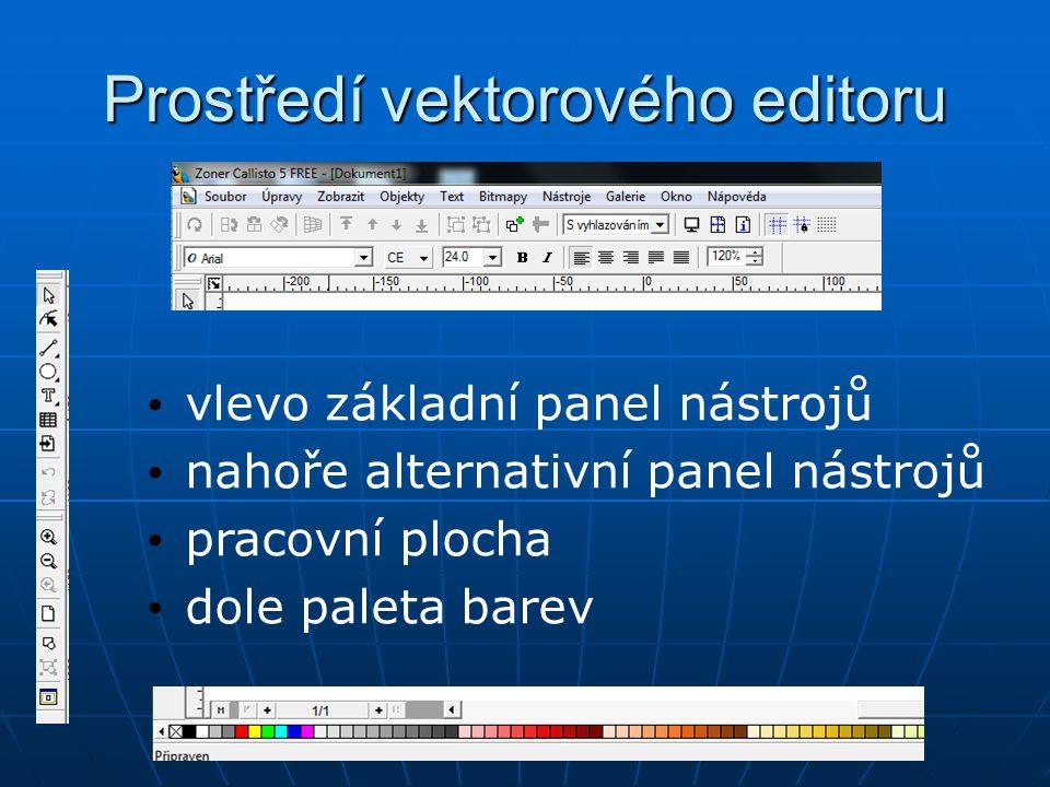 Prostředí vektorového editoru vlevo základní panel nástrojů nahoře alternativní panel nástrojů pracovní plocha dole paleta barev