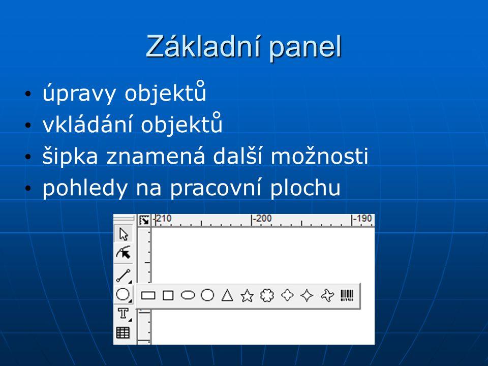 Základní panel úpravy objektů vkládání objektů šipka znamená další možnosti pohledy na pracovní plochu