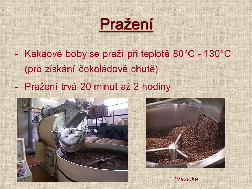 Pražení -Kakaové boby se praží při teplotě 80°C - 130°C (pro získání čokoládové chutě) -Pražení trvá 20 minut až 2 hodiny Pražička