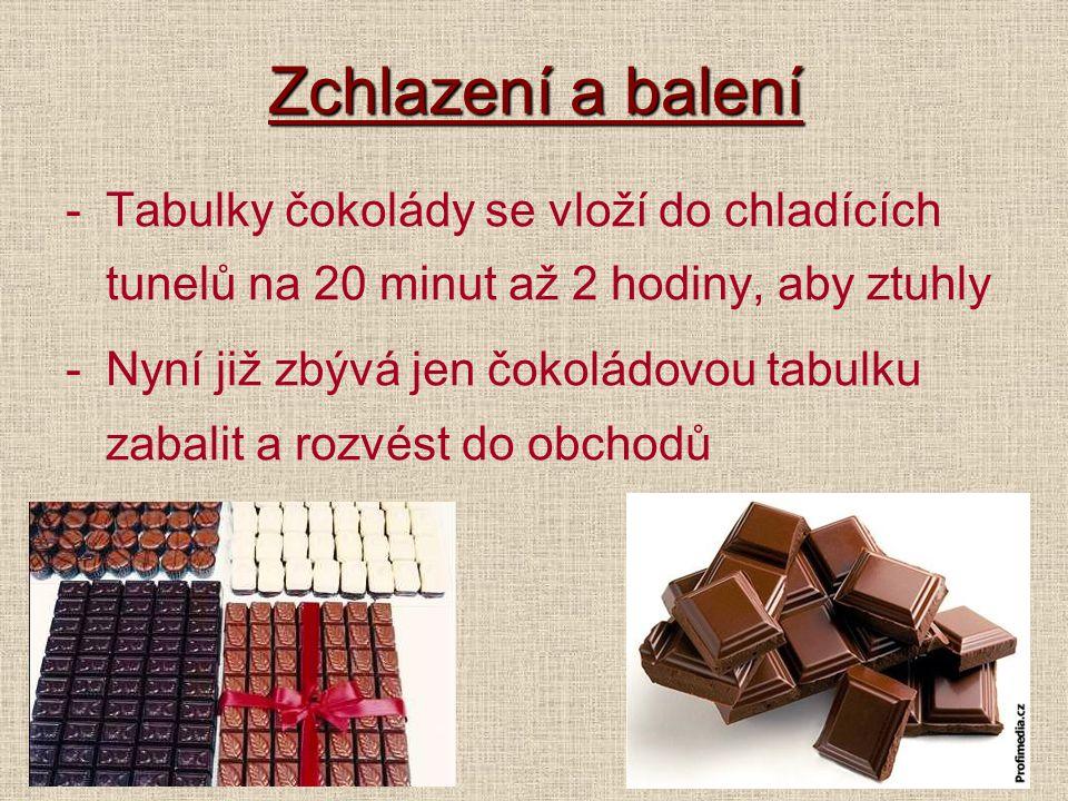 Zchlazení a balení -Tabulky čokolády se vloží do chladících tunelů na 20 minut až 2 hodiny, aby ztuhly -Nyní již zbývá jen čokoládovou tabulku zabalit