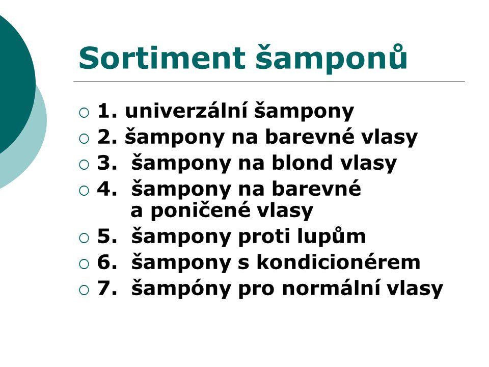 Sortiment šamponů  1.univerzální šampony  2. šampony na barevné vlasy  3.