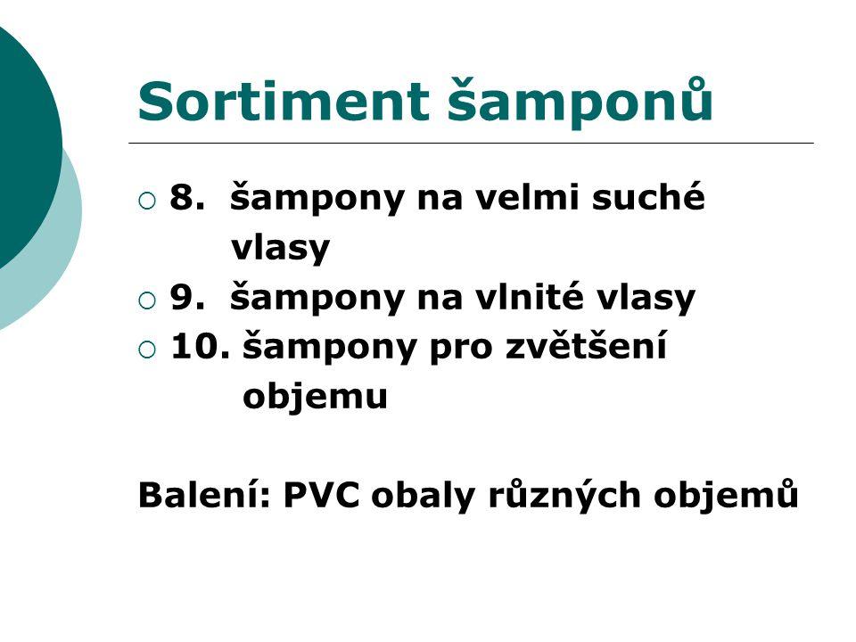 Sortiment šamponů  8. šampony na velmi suché vlasy  9. šampony na vlnité vlasy  10. šampony pro zvětšení objemu Balení: PVC obaly různých objemů