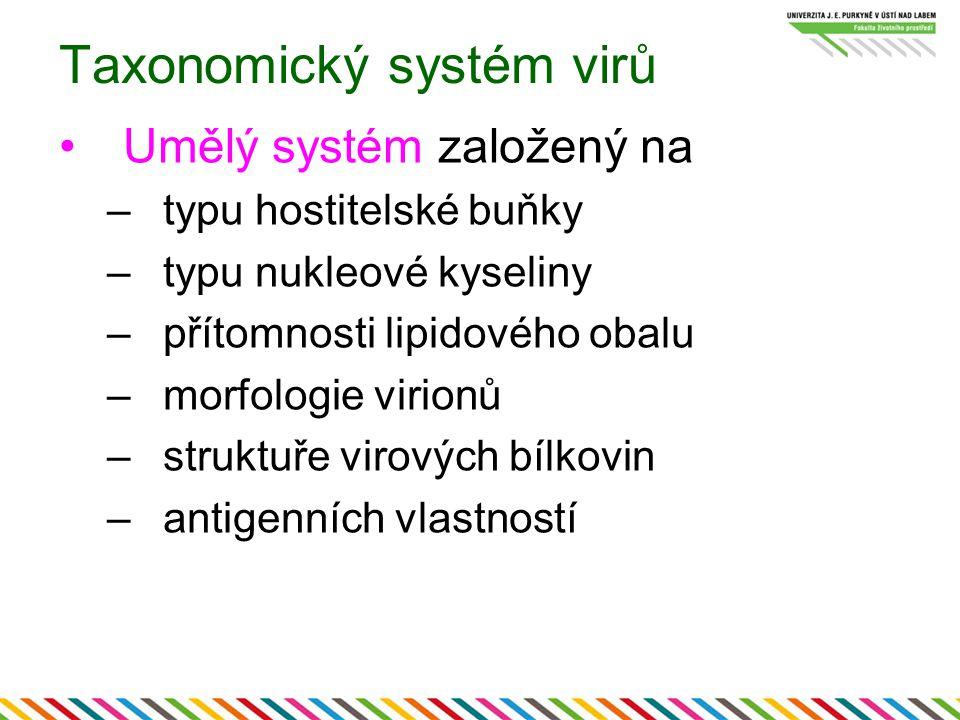 Taxonomický systém virů Umělý systém založený na –typu hostitelské buňky –typu nukleové kyseliny –přítomnosti lipidového obalu –morfologie virionů –struktuře virových bílkovin –antigenních vlastností