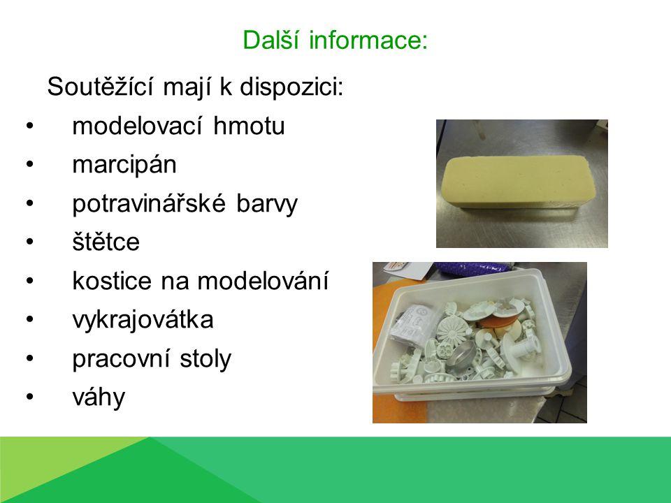 Další informace: Soutěžící mají k dispozici: modelovací hmotu marcipán potravinářské barvy štětce kostice na modelování vykrajovátka pracovní stoly váhy