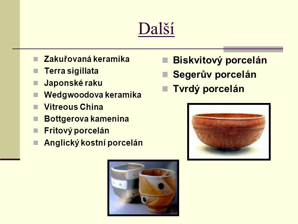 Další Zakuřovaná keramika Terra sigillata Japonské raku Wedgwoodova keramika Vitreous China Bottgerova kamenina Fritový porcelán Anglický kostní porce