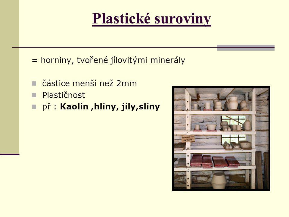 Plastické suroviny = horniny, tvořené jílovitými minerály částice menší než 2mm Plastičnost př : Kaolin,hlíny, jíly,slíny