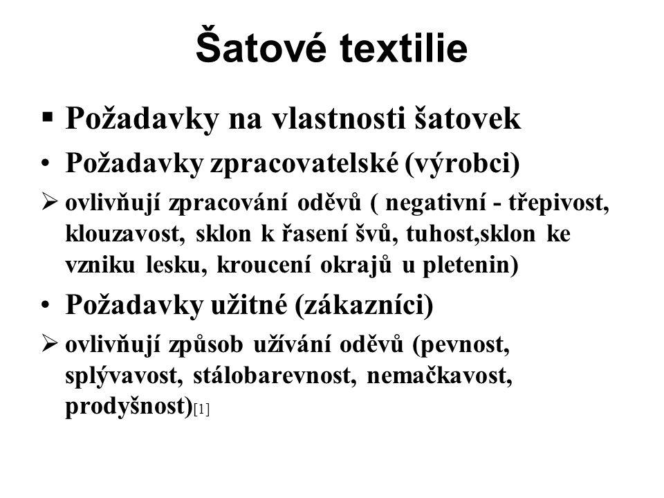 Šatové textilie  Požadavky na vlastnosti šatovek Požadavky zpracovatelské (výrobci)  ovlivňují zpracování oděvů ( negativní - třepivost, klouzavost, sklon k řasení švů, tuhost,sklon ke vzniku lesku, kroucení okrajů u pletenin) Požadavky užitné (zákazníci)  ovlivňují způsob užívání oděvů (pevnost, splývavost, stálobarevnost, nemačkavost, prodyšnost) [1]