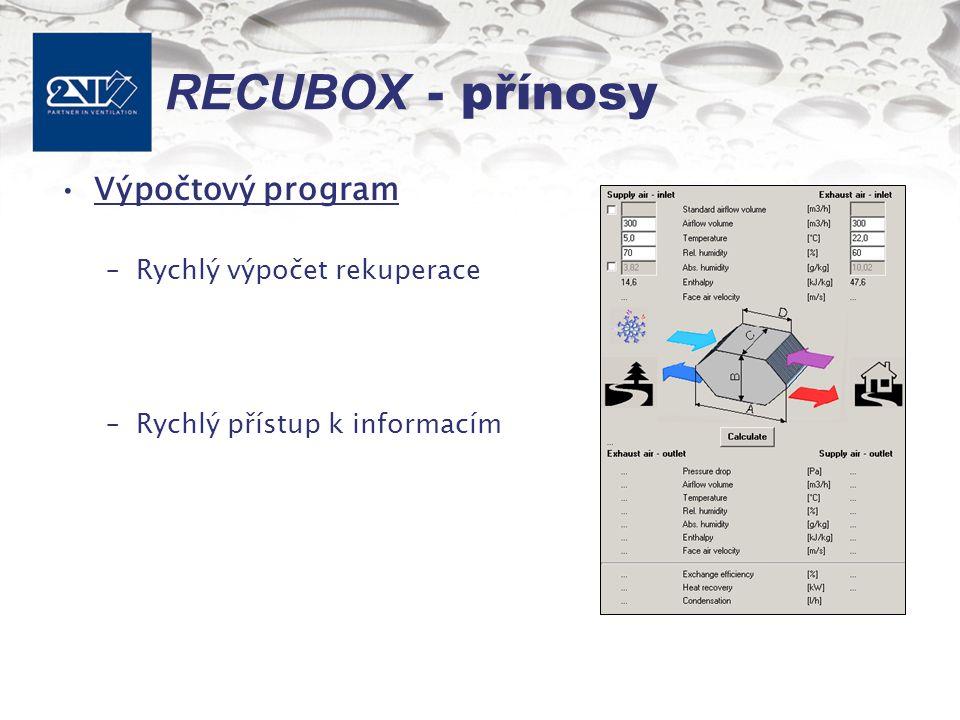 RECUBOX - přínosy Výpočtový program –Rychlý výpočet rekuperace –Rychlý přístup k informacím