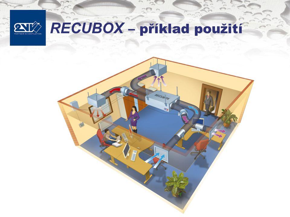 RECUBOX provedení Průtokové velikosti –300, 500, 700, 1000, 1500 a 2000 m 3 /h Filtrace –Kapsové filtry G4 –Bez filtru Odvod kondenzátu –Sifon s kuličkou