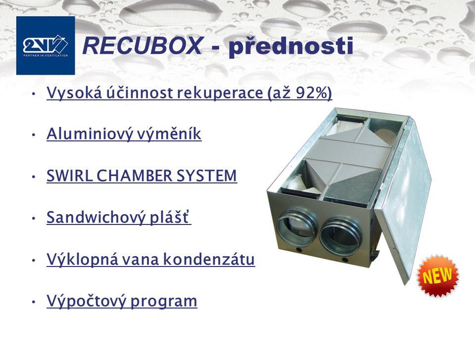 RECUBOX - přednosti Vysoká účinnost rekuperace ( až 92% ) Aluminiový výměník SWIRL CHAMBER SYSTEM Sandwichový plášť Výklopná vana kondenzátu Výpočtový program