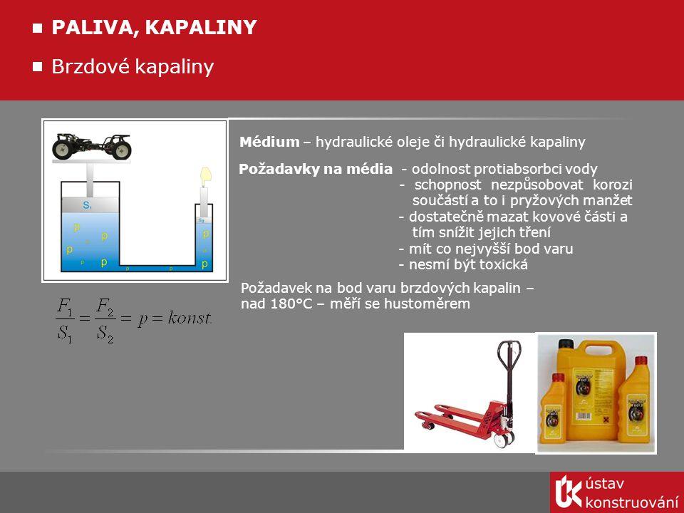 Brzdové kapaliny Médium – hydraulické oleje či hydraulické kapaliny Požadavky na média - odolnost protiabsorbci vody - schopnost nezpůsobovat korozi s