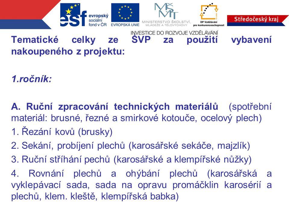 Tematické celky ze ŠVP za použití vybavení nakoupeného z projektu: 1.ročník: A. Ruční zpracování technických materiálů (spotřební materiál: brusné, ře