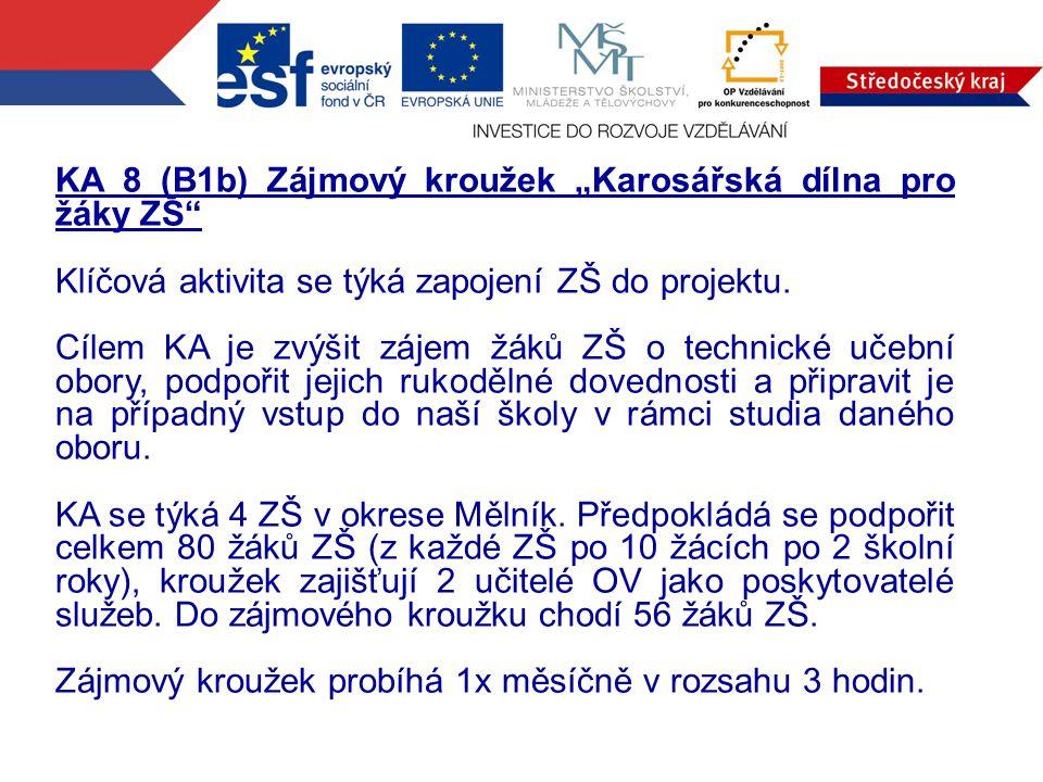 """KA 8 (B1b) Zájmový kroužek """"Karosářská dílna pro žáky ZŠ Klíčová aktivita se týká zapojení ZŠ do projektu."""