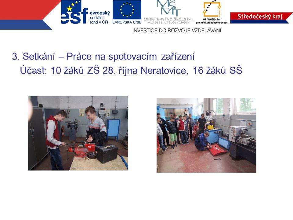 3. Setkání – Práce na spotovacím zařízení Účast: 10 žáků ZŠ 28. října Neratovice, 16 žáků SŠ