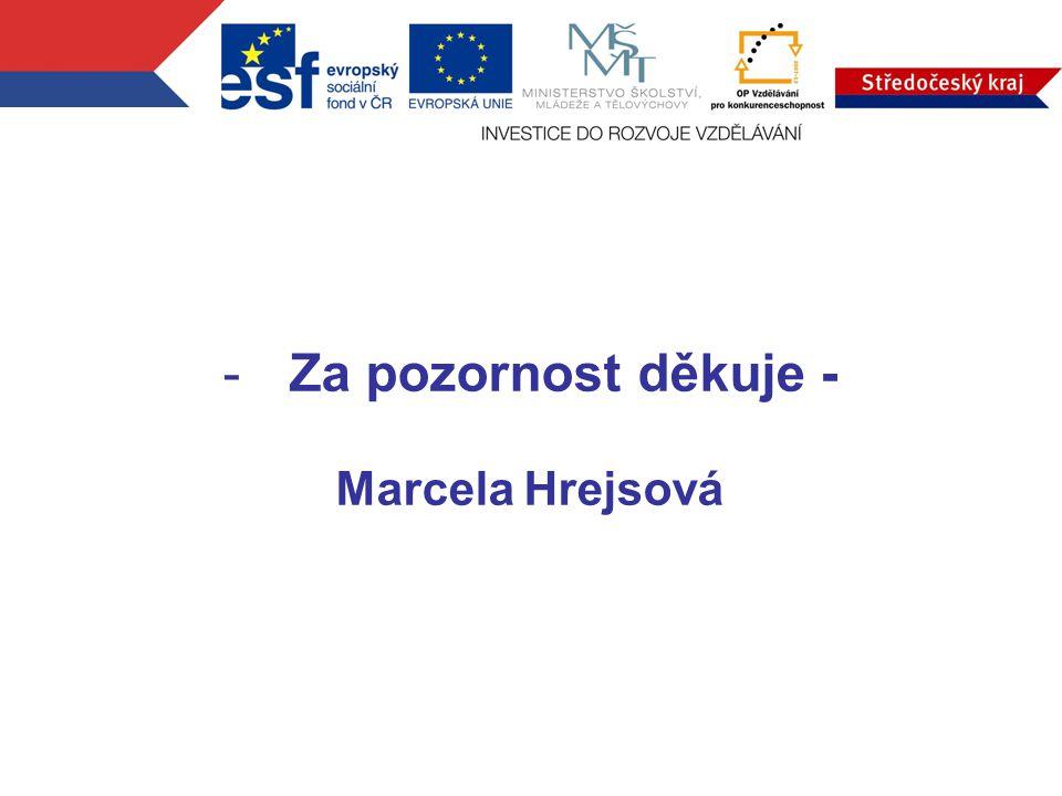 -Za pozornost děkuje - Marcela Hrejsová