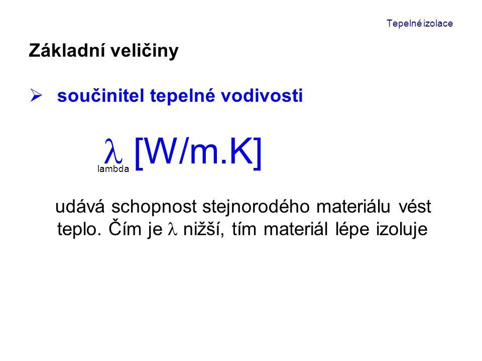 """Tepelné izolace MATERIÁL objemová hmotnost kg/m 3 * w/m.K* železobeton24001,58 hutný beton22001,30 keramzitbeton700 - 17000,28 – 1,30 pórobeton350 - 8000,08 – 0,27 žula26003,0 cihla typu """"therm 6500,09 vápenocementová malta18500,9 perlitová omítka250 - 5000,10 – 0,18 pěnový polystyréncca 150,039 skelná vatacca 250,033 čedičová vata1000,040 * uvedené hodnoty jsou pouze orientační !"""