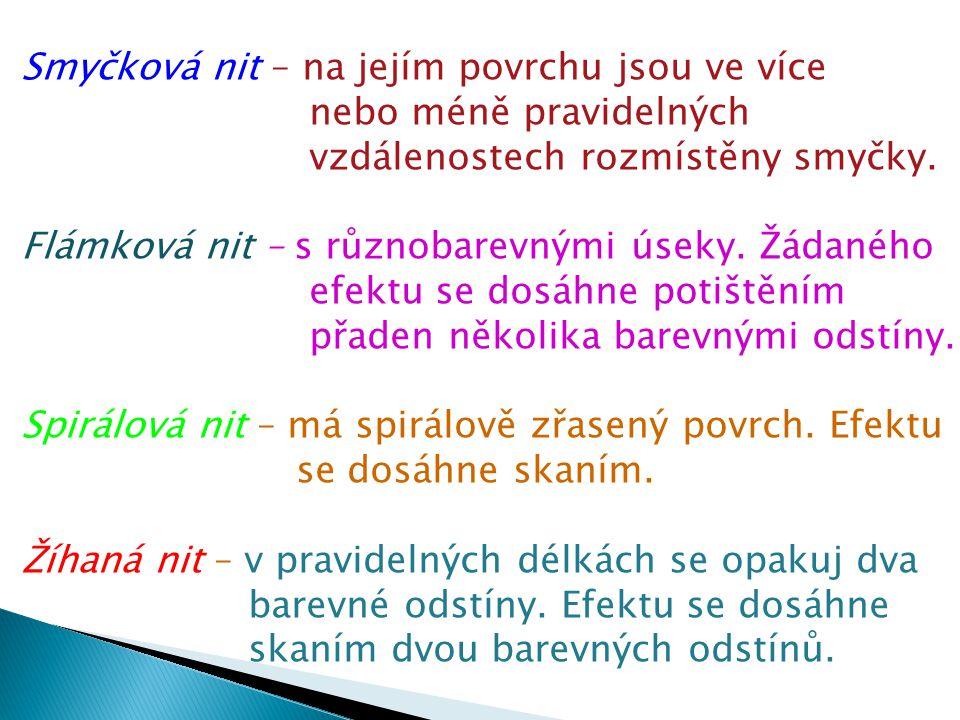 Obrázky přízí homspen Příze nestejnoměrně předená Nopková (vločková)