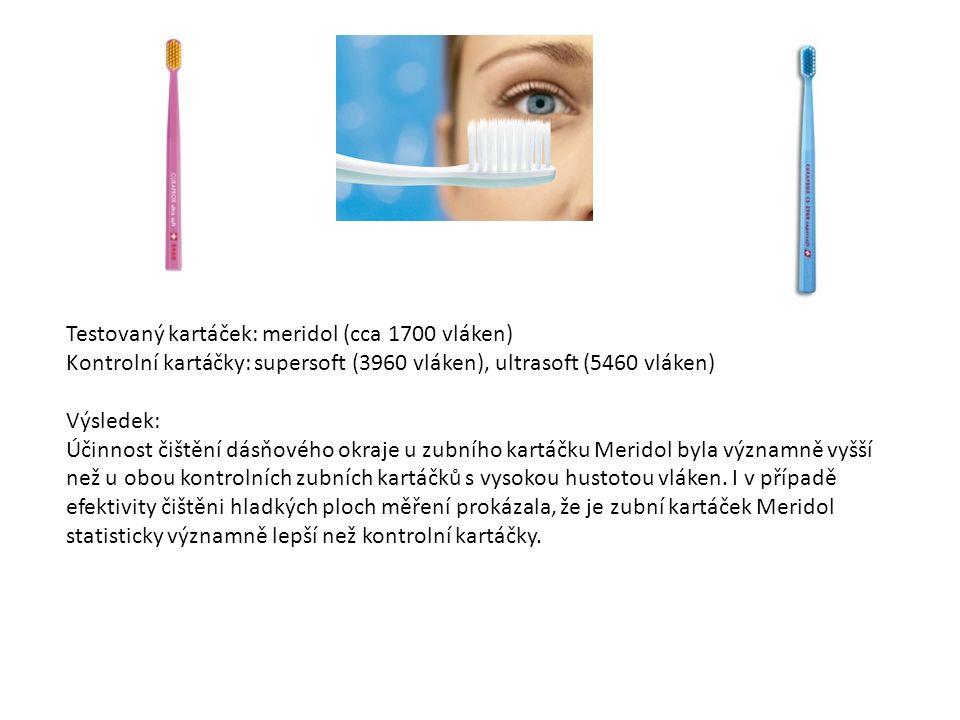 Testovaný kartáček: meridol (cca 1700 vláken) Kontrolní kartáčky: supersoft (3960 vláken), ultrasoft (5460 vláken) Výsledek: Účinnost čištění dásňového okraje u zubního kartáčku Meridol byla významně vyšší než u obou kontrolních zubních kartáčků s vysokou hustotou vláken.