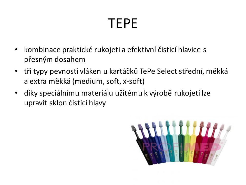 TEPE kombinace praktické rukojeti a efektivní čisticí hlavice s přesným dosahem tři typy pevnosti vláken u kartáčků TePe Select střední, měkká a extra měkká (medium, soft, x-soft) díky speciálnímu materiálu užitému k výrobě rukojeti lze upravit sklon čistící hlavy