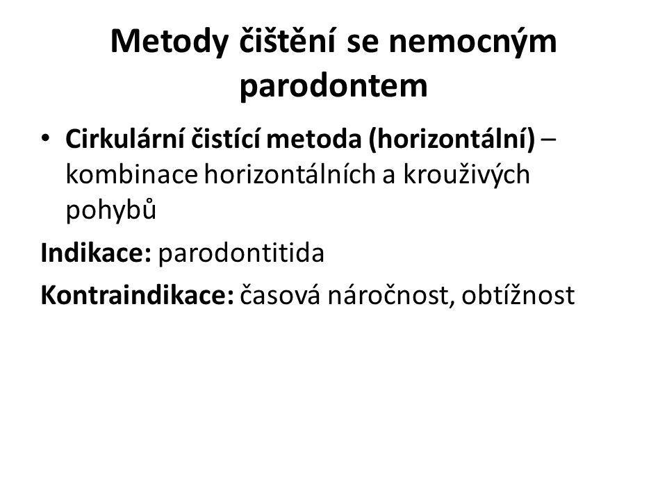 Metody čištění se nemocným parodontem Cirkulární čistící metoda (horizontální) – kombinace horizontálních a krouživých pohybů Indikace: parodontitida Kontraindikace: časová náročnost, obtížnost